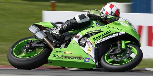 Jason Farrell through turn five during AMA Superbike qualifying.