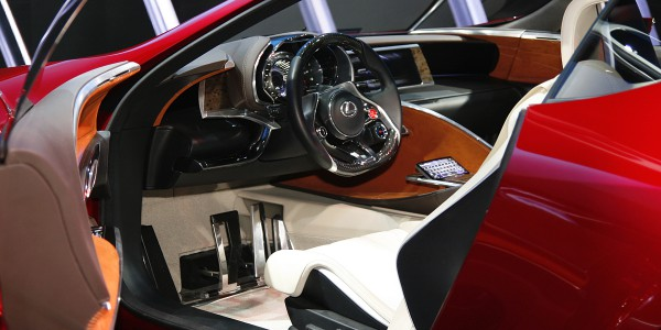 Concept car interiors range from minimalist to high tech, as in this Lexus LF-LC interior.